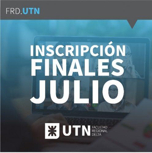 Inscripciones finales Julio UTN FRD